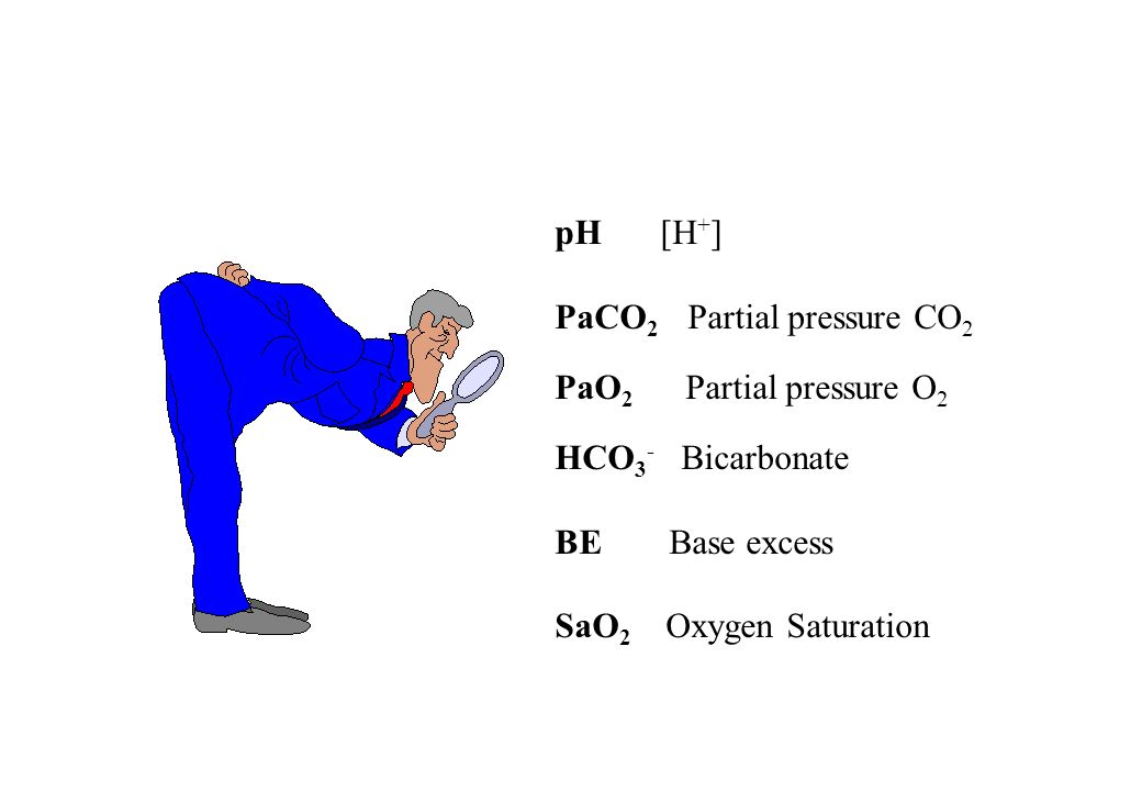 pH [H+] PaCO2 Partial pressure CO2. PaO2 Partial pressure O2. HCO3- Bicarbonate. BE Base excess.